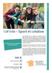 Séjours Jeunes : Cré'ado – Sport et création